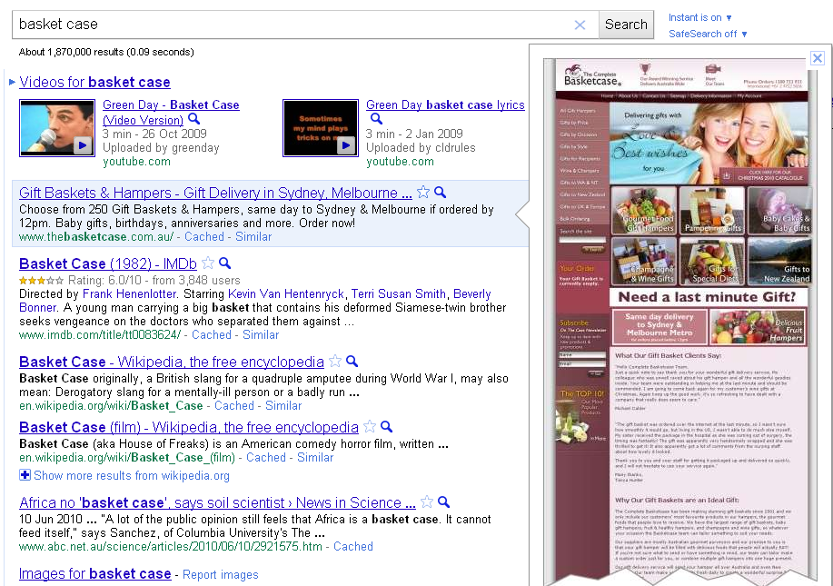 google instant preview example screenshot